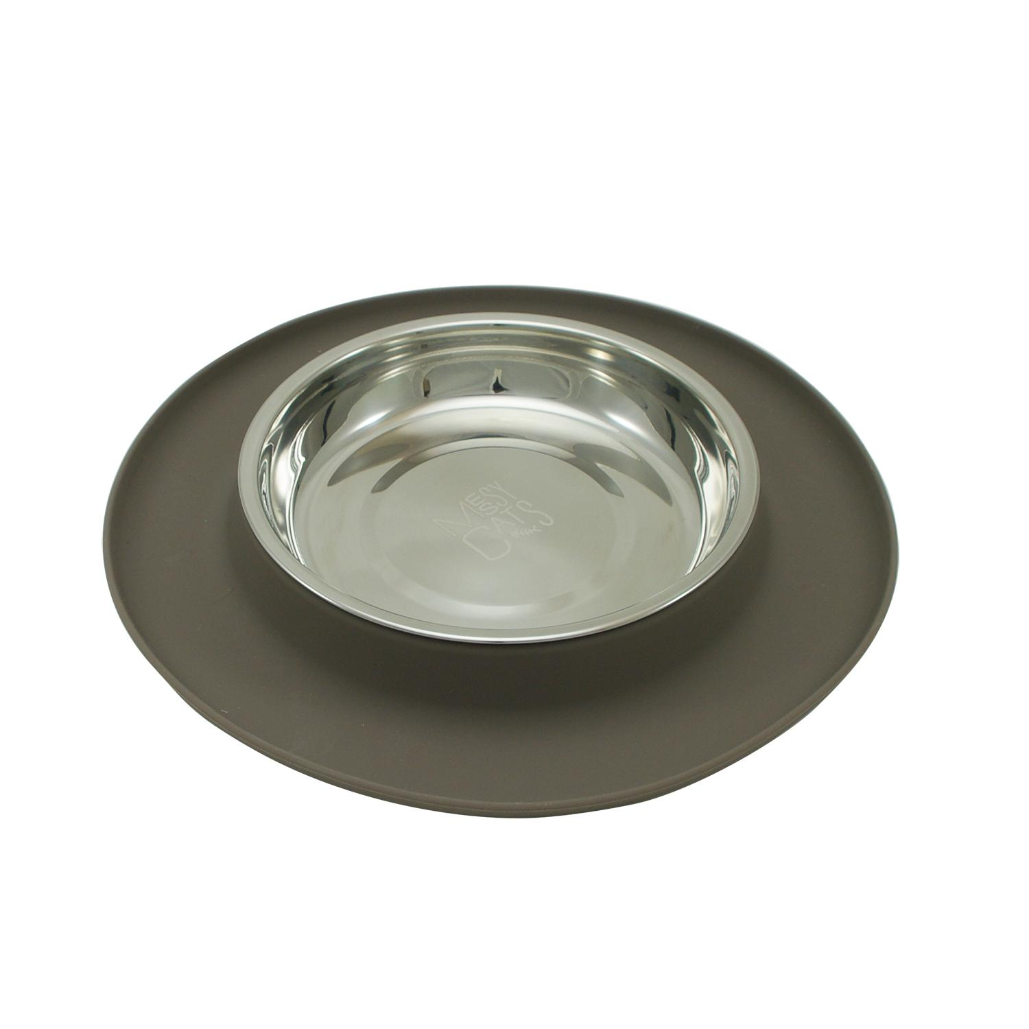 Messy Cats Single Silicone Feeder with Stainless Saucer Shaped Bowl Grey