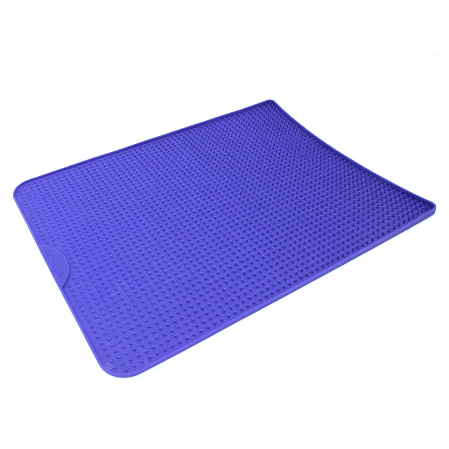 Messy Cats Silicone Litter Mat with Soft Graduated Spikes, Purple Image