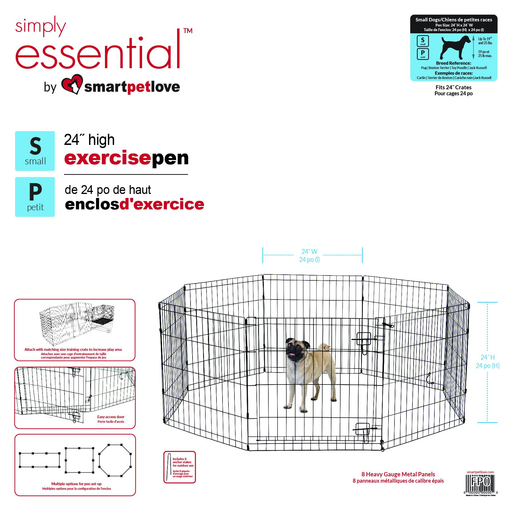 Smart Pet Love Simply Essential 8 Panel Dog Exercise Pen, Black, Small