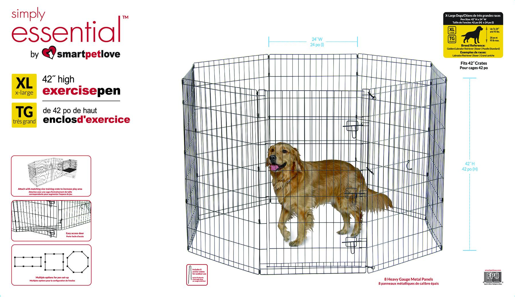 Smart Pet Love Simply Essential 8 Panel Dog Exercise Pen, Black, X-Large