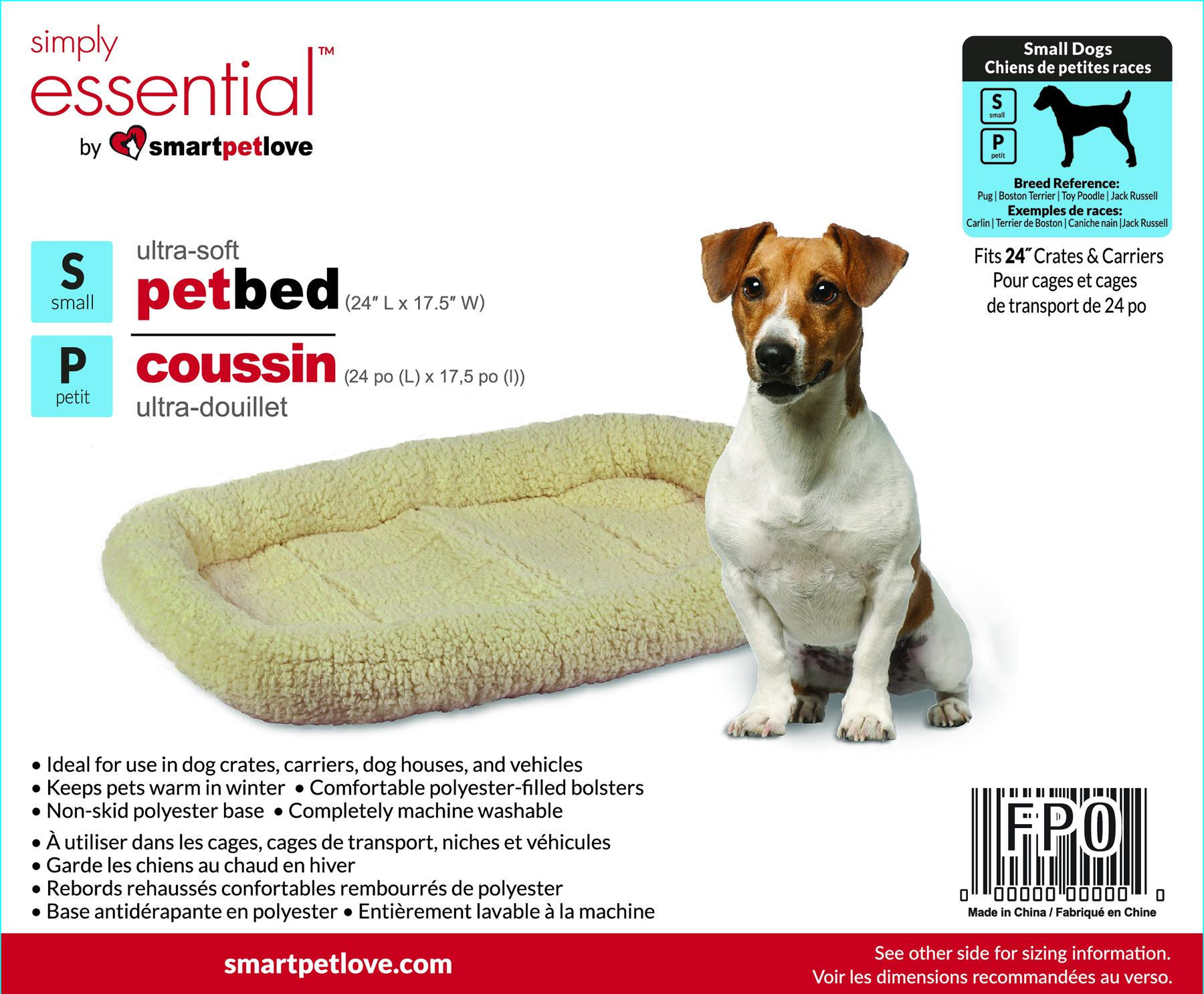 Smart Pet Love Simply Essential Ultra-Soft Dog Bed, Off-White, Small