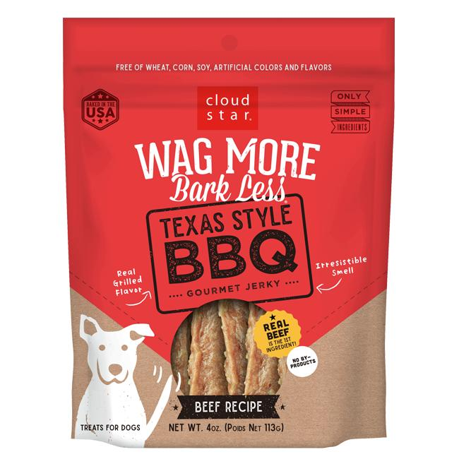 Cloud Star Wag More Bark Less Texas Style BBQ Beef Recipe Dog Treats, 10-oz
