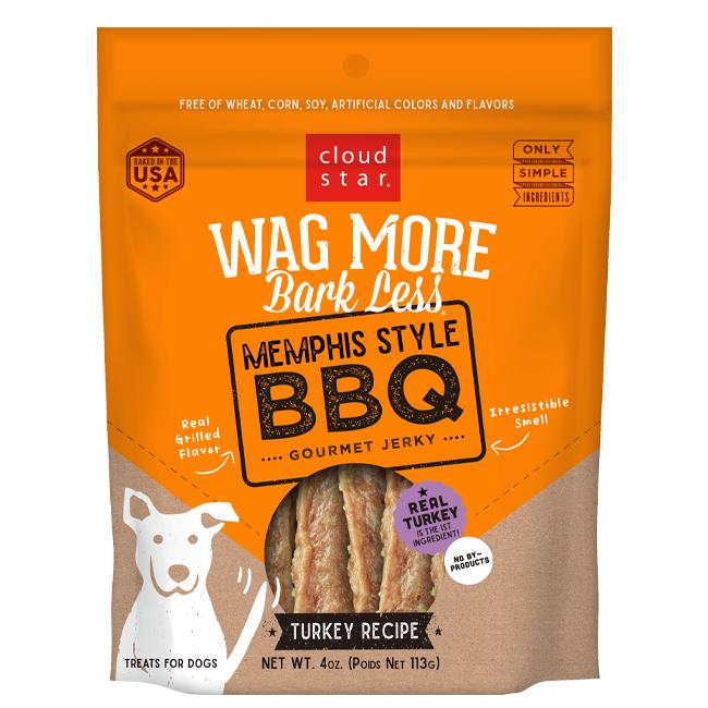 Cloud Star Wag More Bark Less Memphis Style BBQ Turkey Recipe Dog Treats, 10-oz