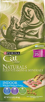 Cat Chow Naturals Indoor with Real Chicken & Turkey Dry Cat Food, 6.3-lb bag