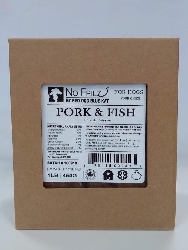 Red Dog Blue Kat Pork & Fish Blend Frozen Dog Food, 24-lb
