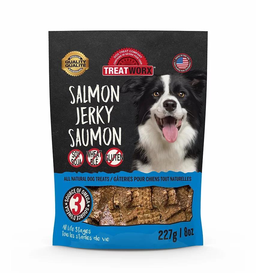 Treatworx Salmon Jerky Dog Treats, 8-oz
