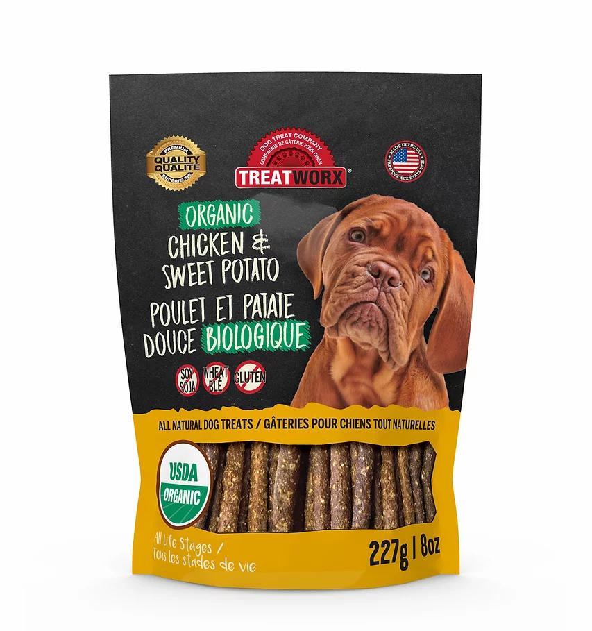 Treatworx Organic Chicken & Sweet Potato Dog Treats, 8-oz