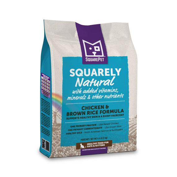 SquarePet Squarely Natural Chicken Meal & Brown Rice Dry Cat Food, 4.4-lb