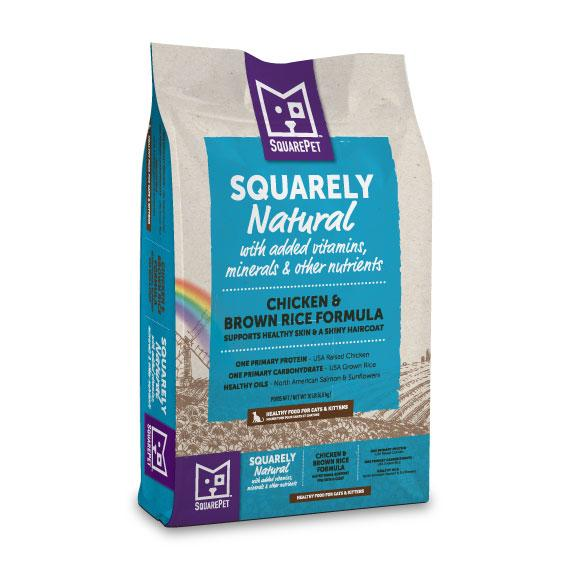SquarePet Squarely Natural Chicken Meal & Brown Rice Dry Cat Food, 10-lb