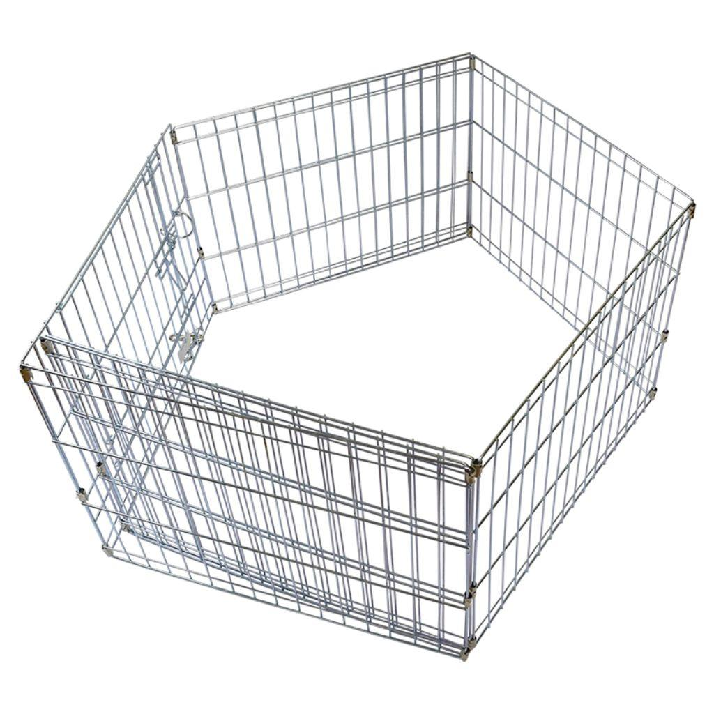 Unleashed Silver 8 Panel with Zinc Coating Pet Exercise Pen, 24 x 24-in