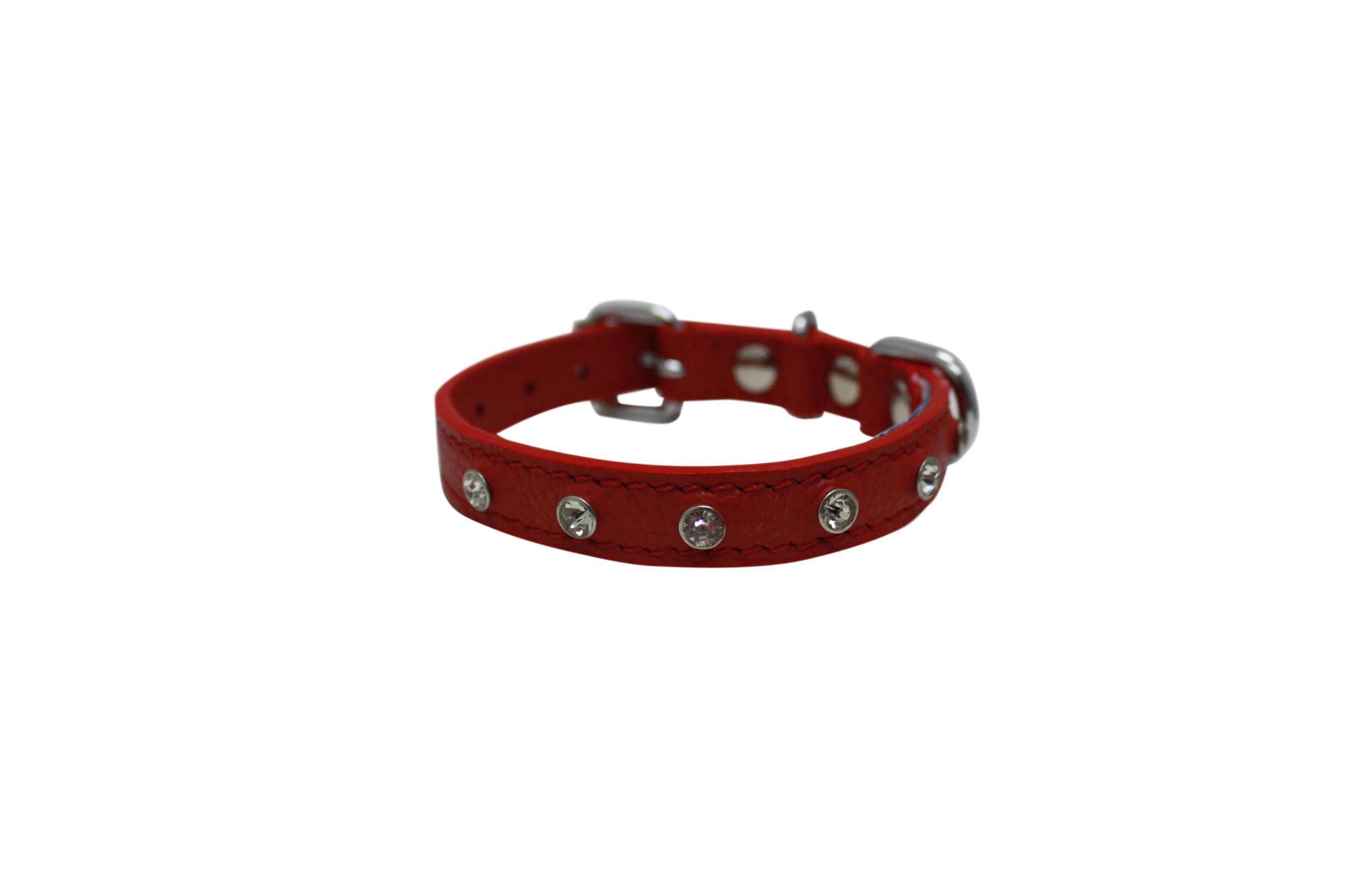 Angel Athens Rhinestone Dog Collar, Valentine Red, 12-in x 0.625-in