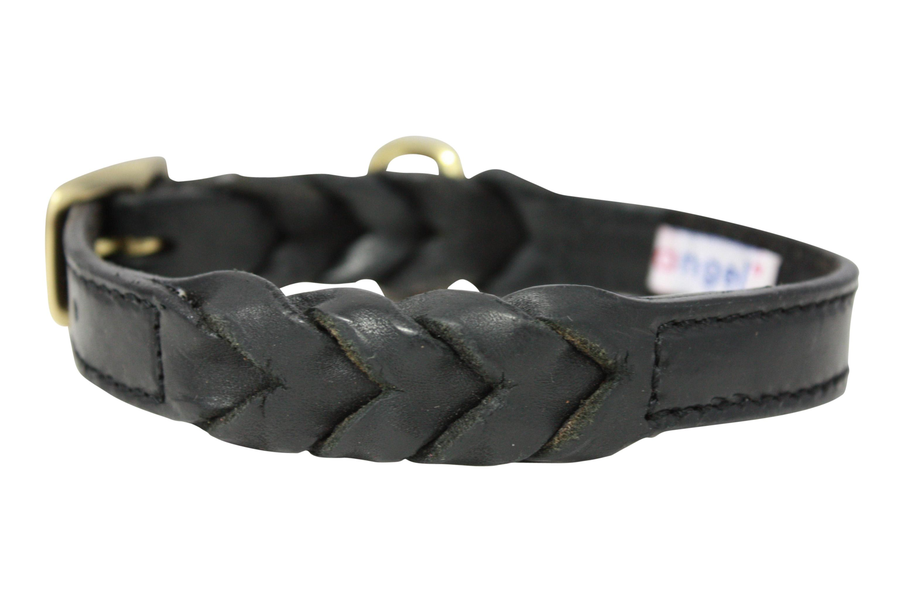 Angel Leather Braided Dog Collar, Black, 18-in x 0.75-in