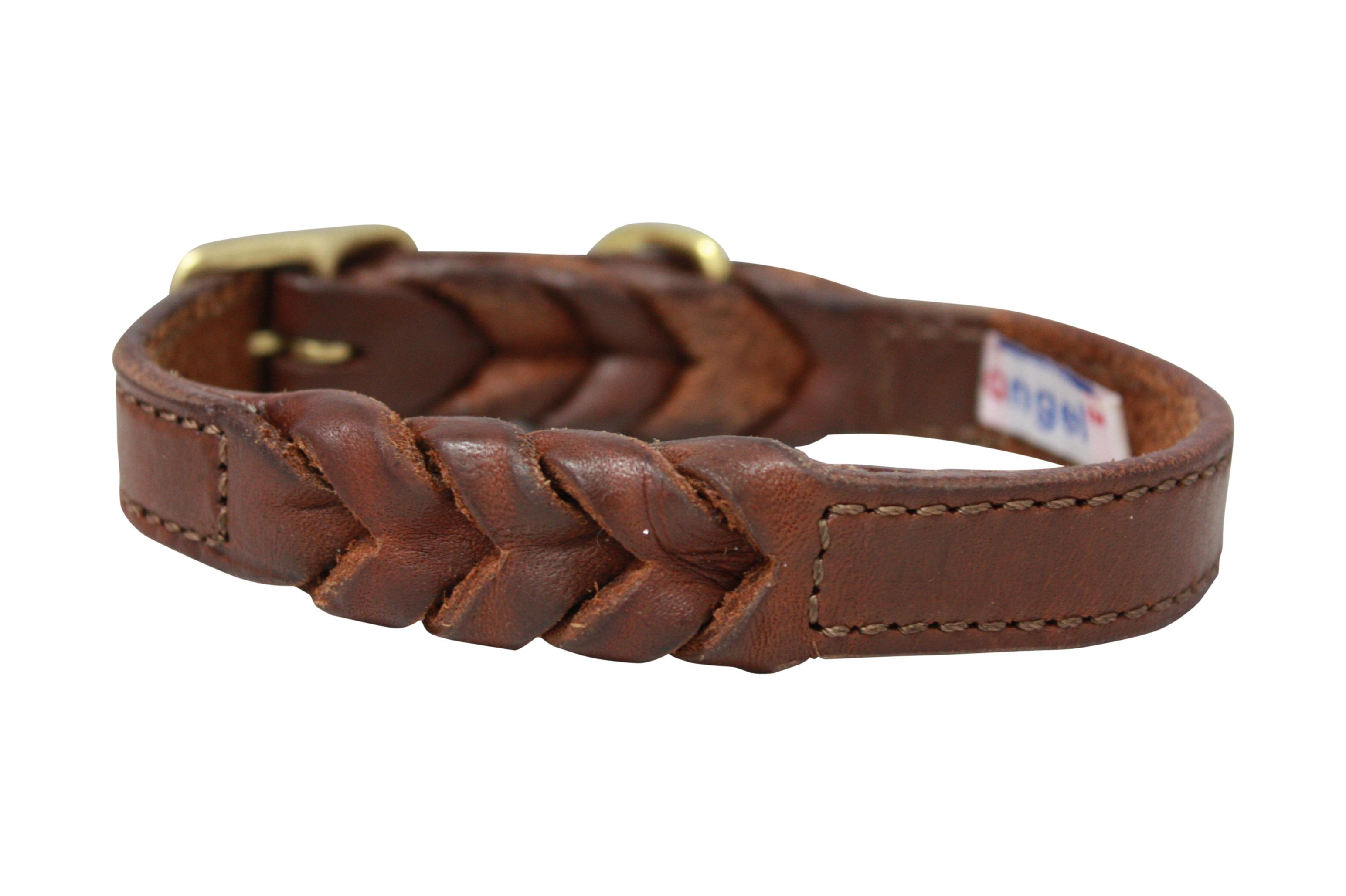 Angel Leather Braided Dog Collar, Brown, 22-in x 1-in
