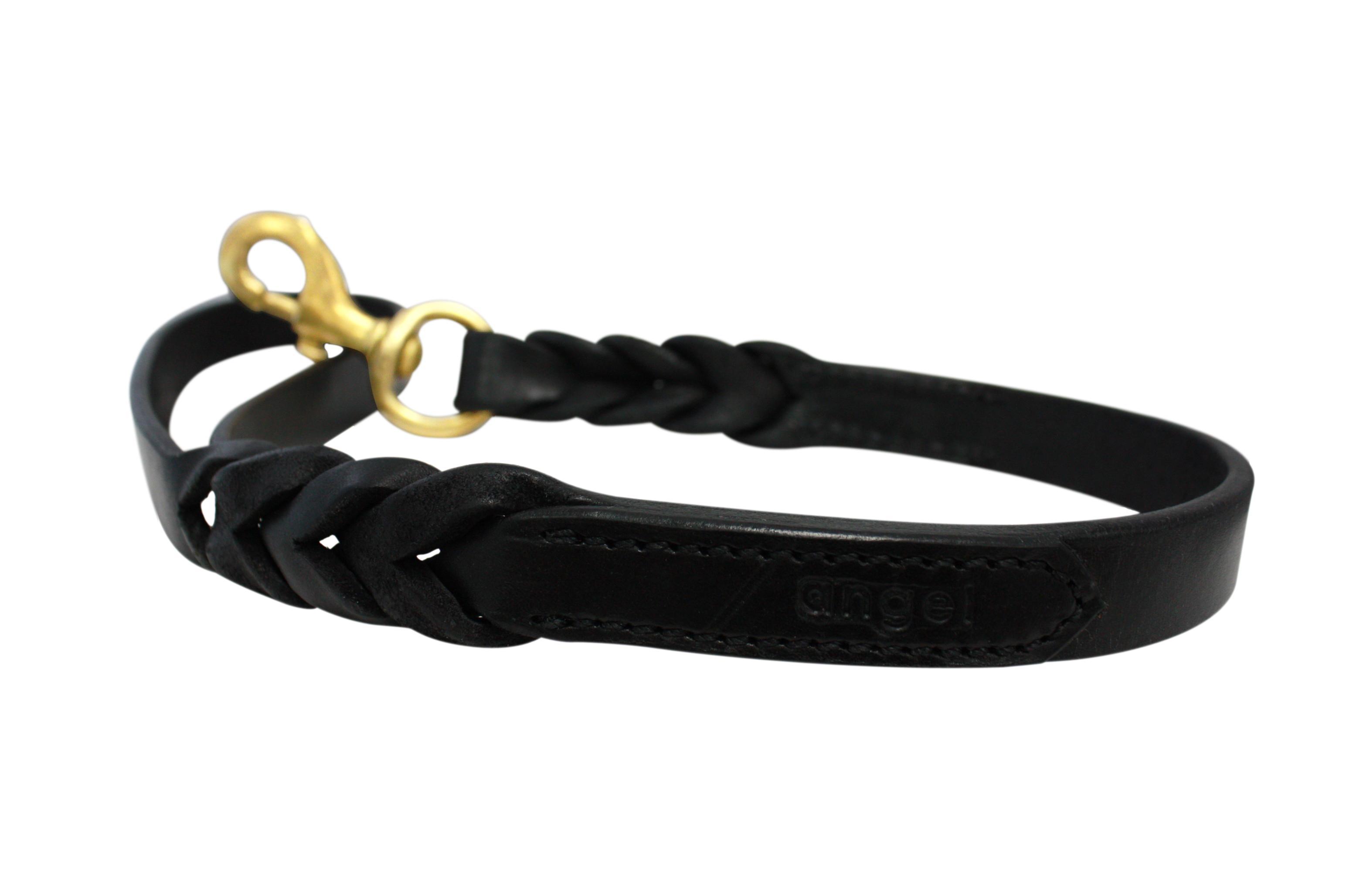 Angel Leather Braided Dog Leash, Black, 6-ft x 1-in