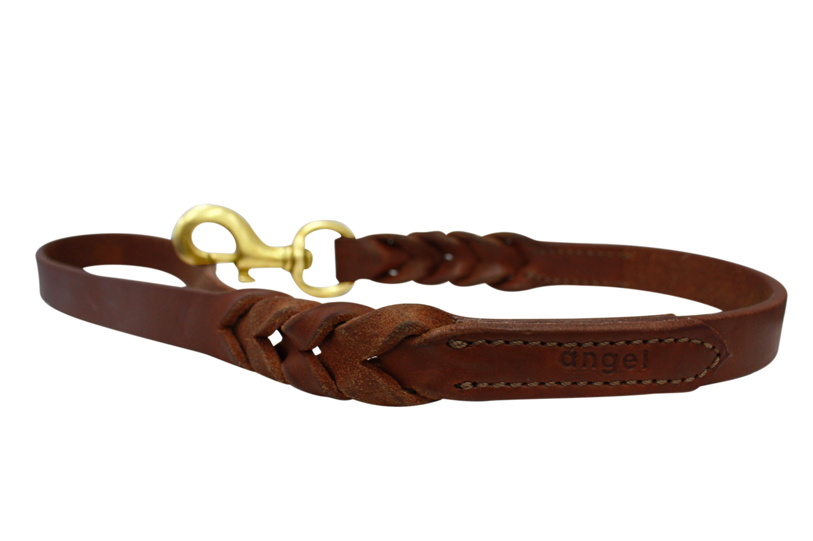Angel Leather Braided Dog Leash, Brown, 4-ft x 0.5-in
