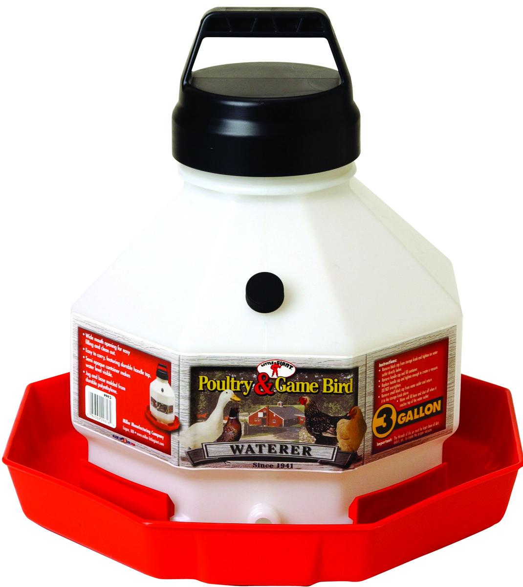 Miller Little Giant Plastic Poultry Waterer, 3-gal