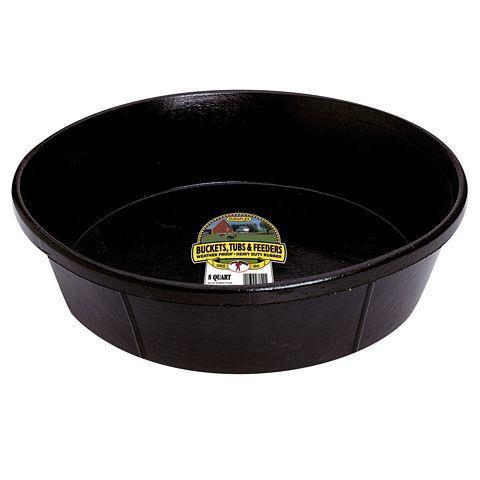 Miller Little Giant DuraFlex Rubber Livestock Feeding Pan, Black, 8-qt