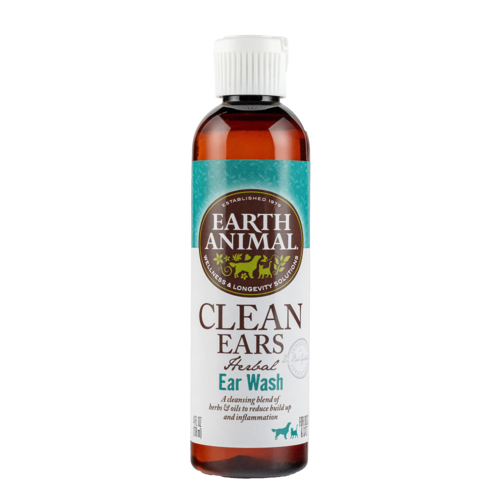 Earth Animal Herbal Topical Remedies Clean Ears Ear Wash for Dogs & Cats, 4-oz Bottle