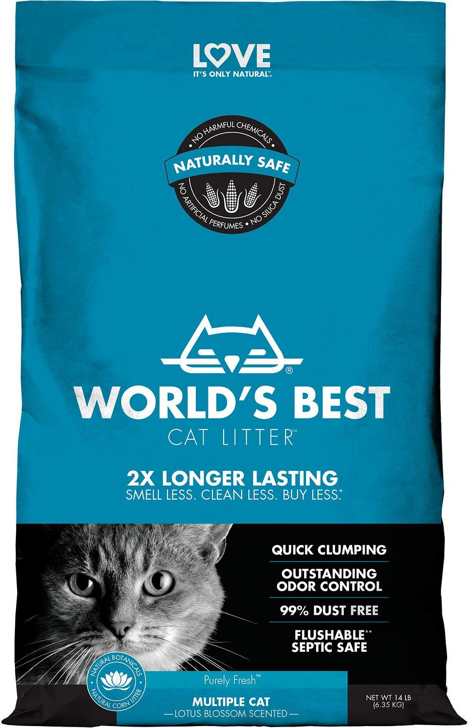 World's Best Multiple Cat Lotus Blossom Scented Clumping Corn Cat Litter, 14-lb