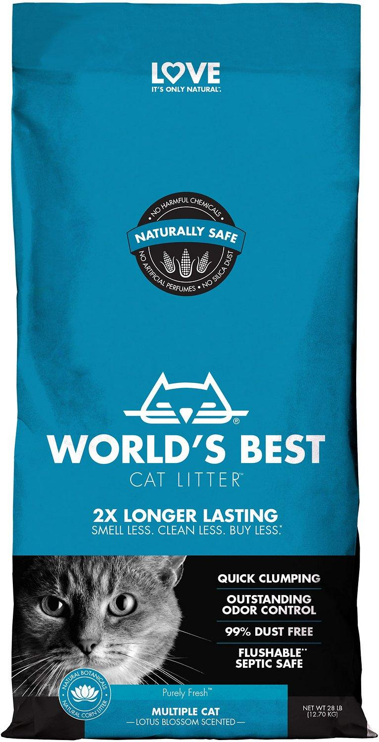 World's Best Multiple Cat Lotus Blossom Scented Clumping Corn Cat Litter, 28-lb