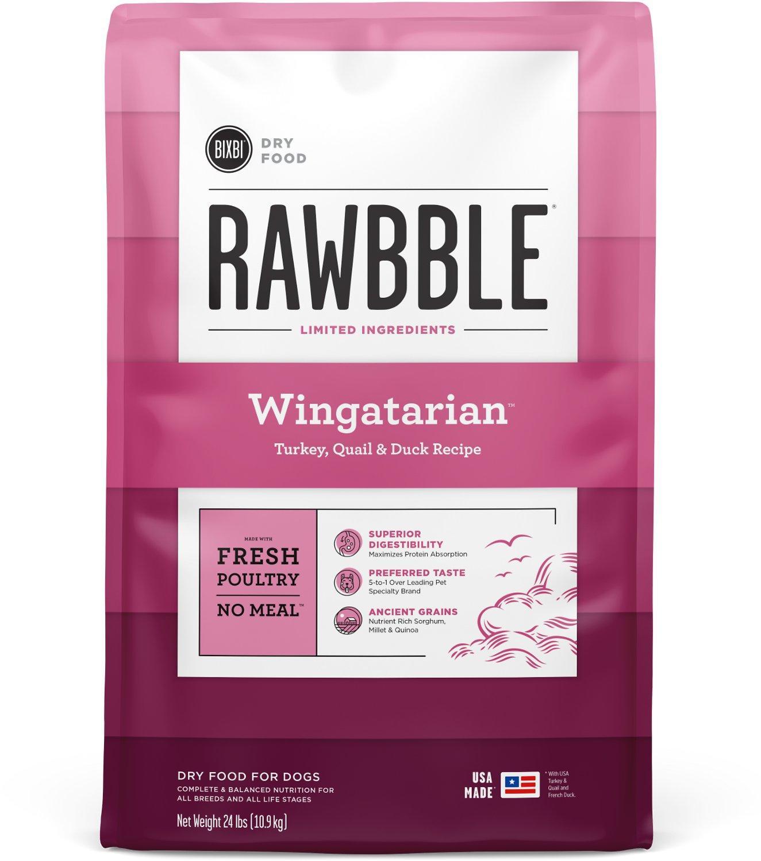 Bixbi Rawbble Wingatarian Recipe Dry Dog Food, 24-lb