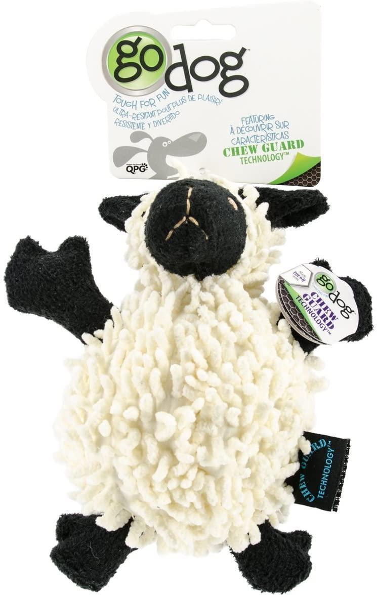 GoDog Fuzzy Wuzzy Sheep Chew Guard Dog Toy, Small