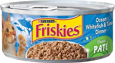 Friskies Classic Pate Ocean Whitefish & Tuna Dinner Canned Cat Food, 5.5-oz