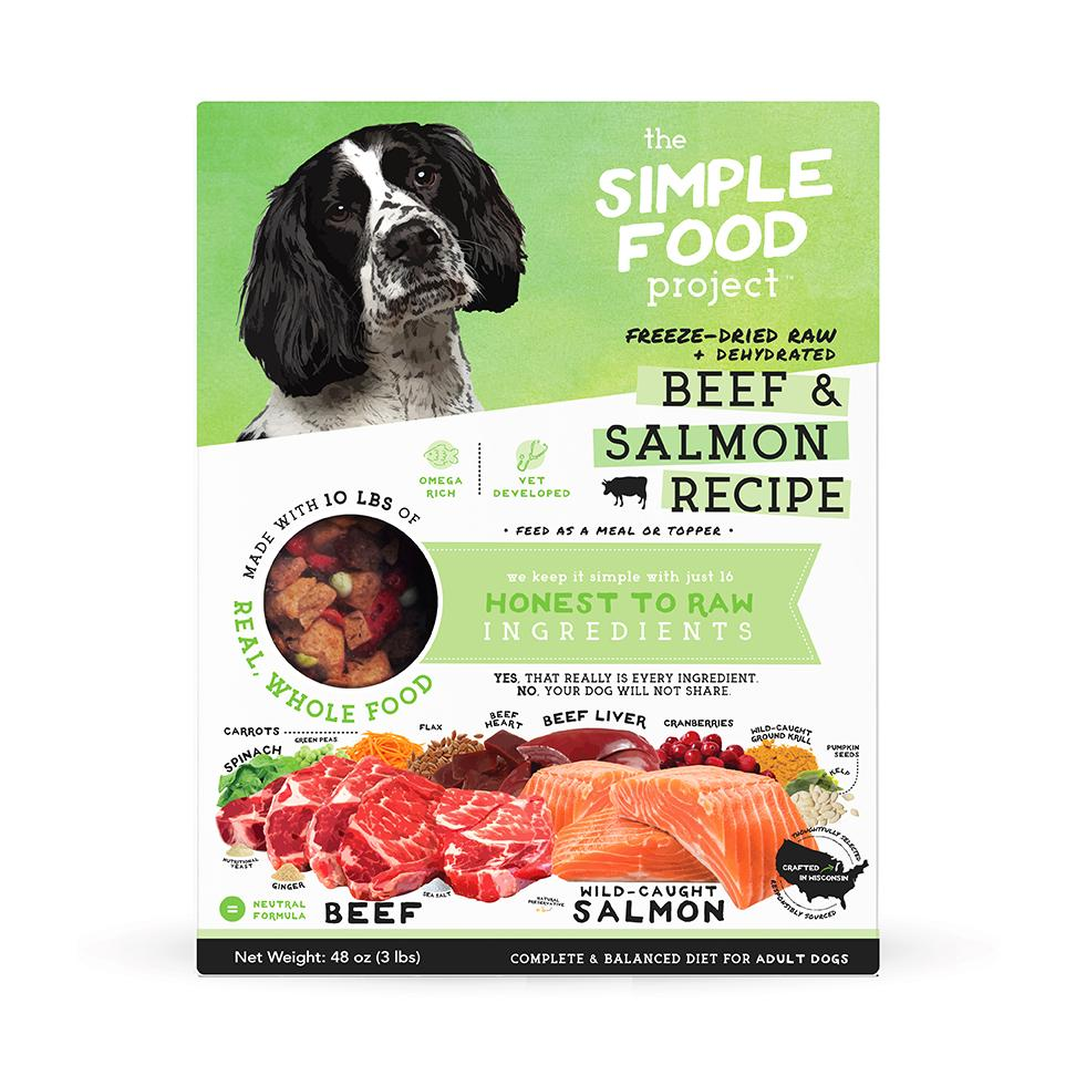 The Simple Food Project Beef & Salmon Freeze-Dried Dog Food, 3-lb