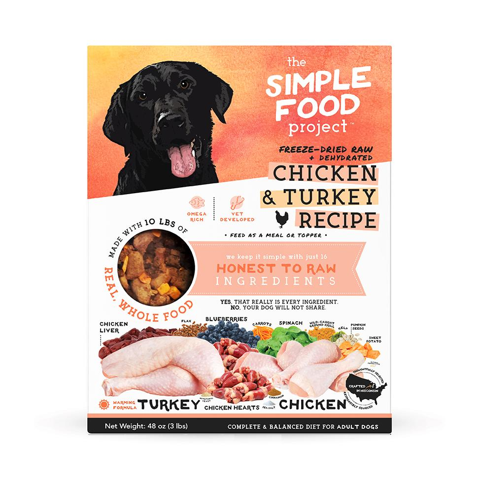 The Simple Food Project Chicken & Turkey Freeze-Dried Dog Food, 3-lb