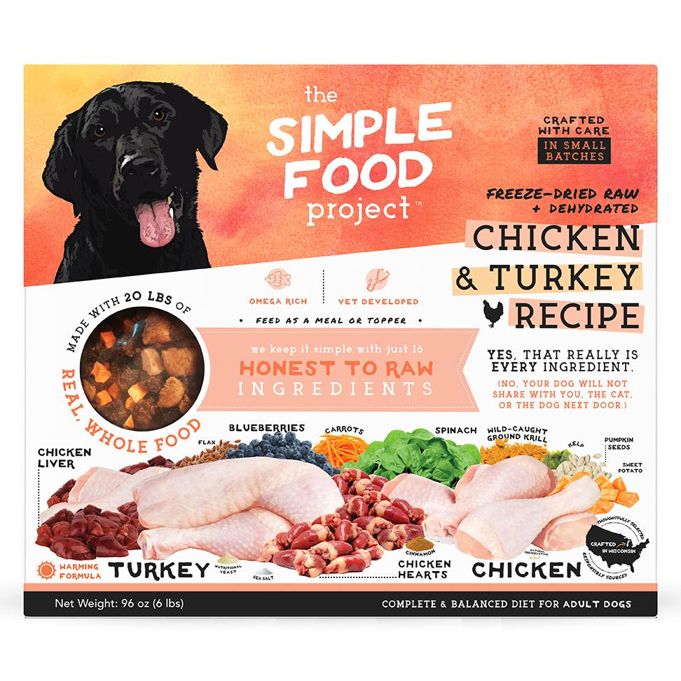 The Simple Food Project Chicken & Turkey Freeze-Dried Dog Food, 6-lb