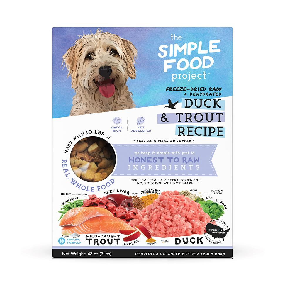 The Simple Food Project Duck & Trout Freeze-Dried Dog Food, 3-lb