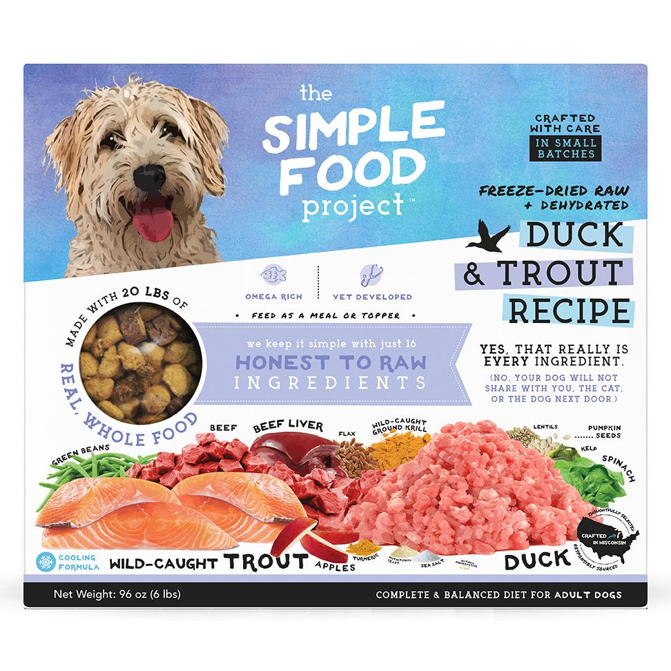 The Simple Food Project Duck & Trout Freeze-Dried Dog Food, 6-lb