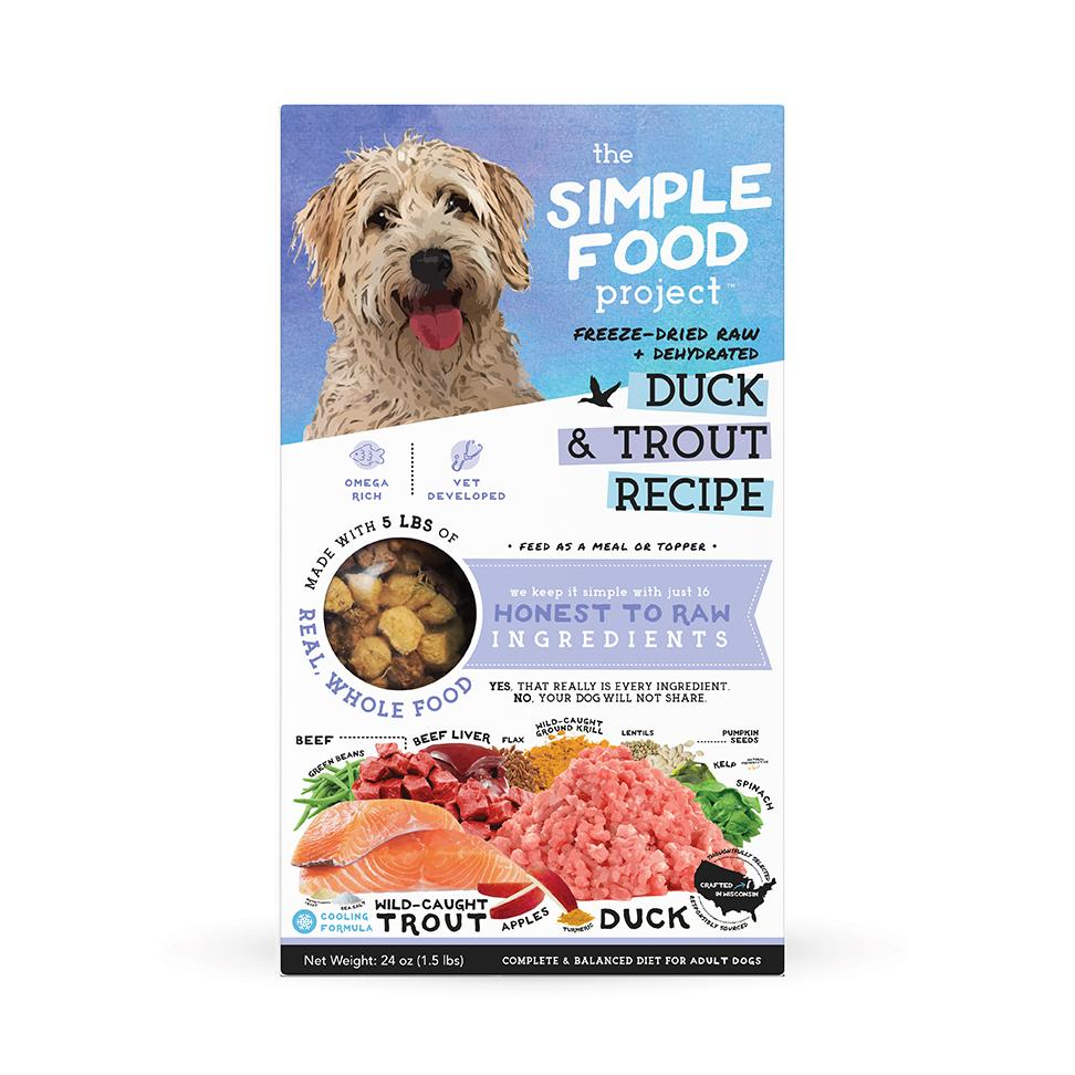 The Simple Food Project Duck & Trout Freeze-Dried Dog Food, 1.5-lb