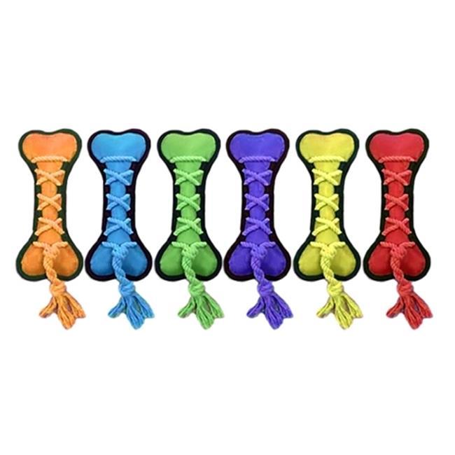 Multipet Nylon Cross Ropes Bone Dog Toy Assorted Colors