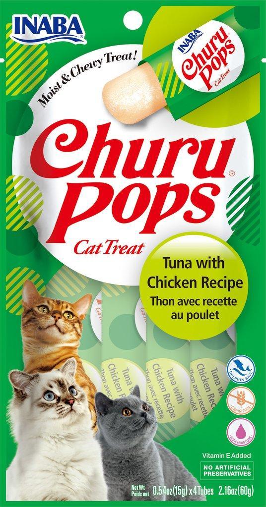 Inaba Churu Pops Tuna with Chicken Grain-Free Cat Treats, 2.16-oz
