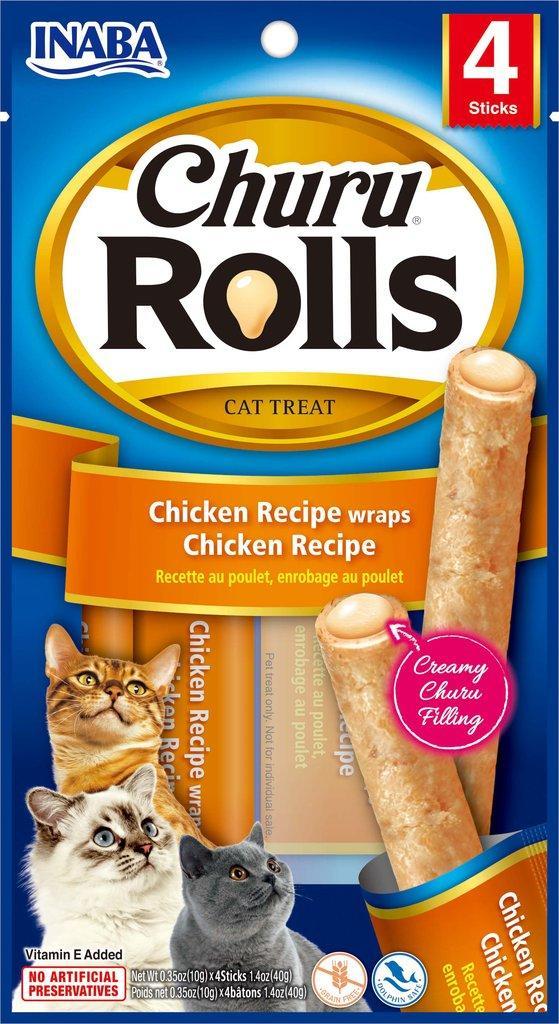 Inaba Churu Rolls Chicken Wrapped Chicken Grain-Free Cat Treats, 4-pk