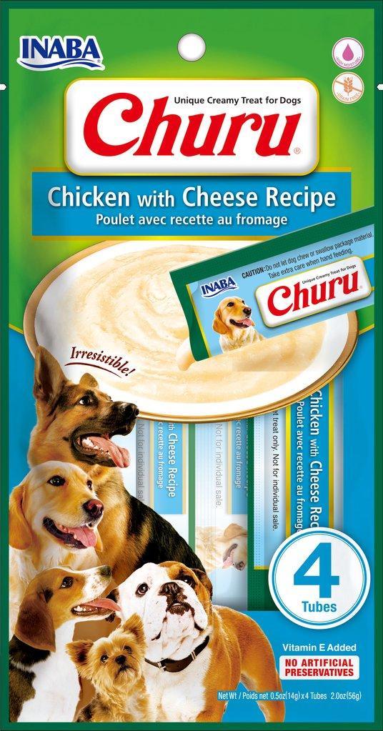 Inaba Churu Chicken with Cheese Grain-Free Dog Treats, 4-pk