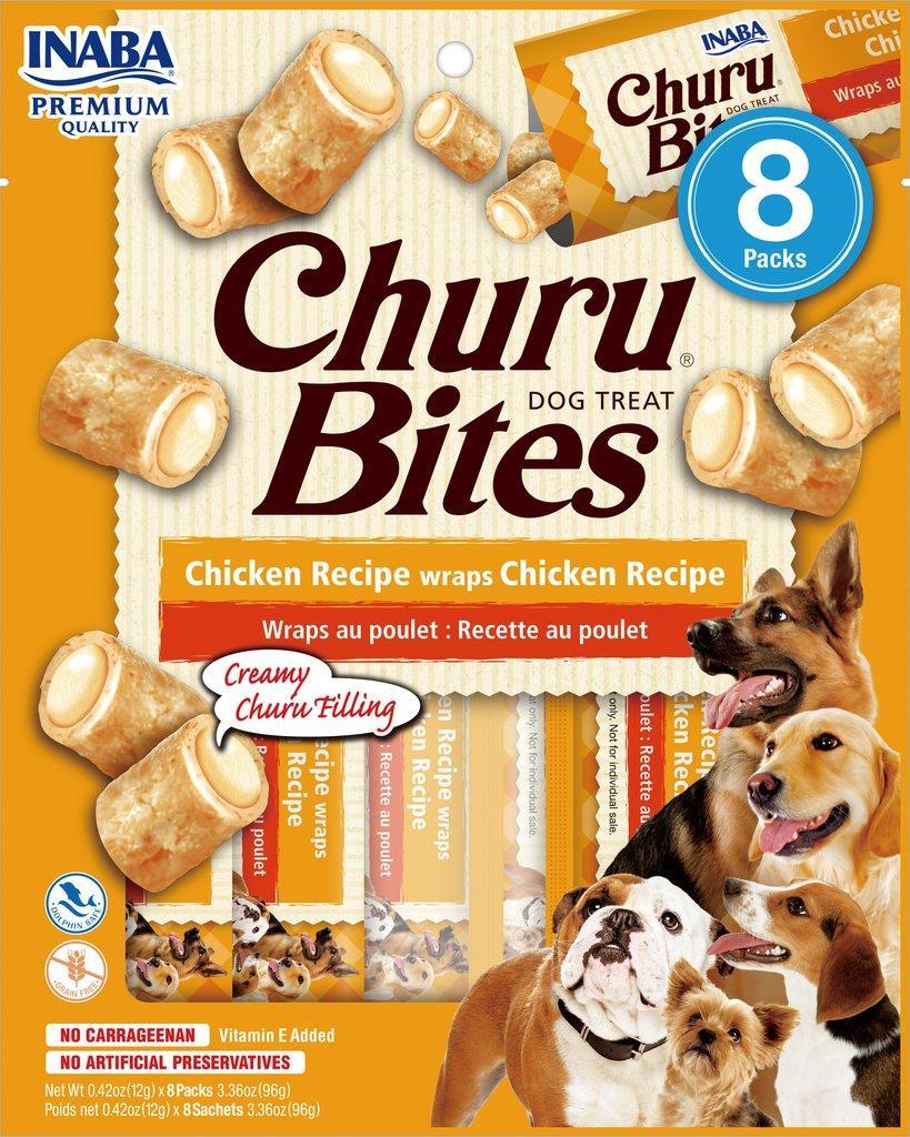 Inaba Churu Bites Chicken Wrapped Chicken Grain-Free Dog Treats, 8-pk