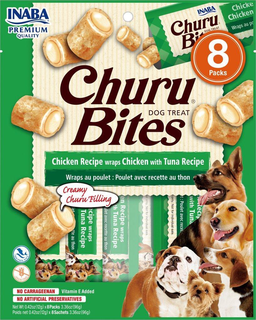 Inaba Churu Bites Chicken Wrapped Chicken with Tuna Grain-Free Dog Treats, 8-pk