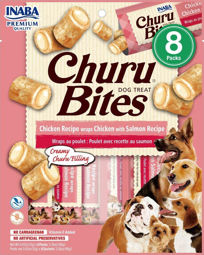 Inaba Churu Bites Chicken Wrapped Chicken with Salmon Grain-Free Dog Treats, 8-pk
