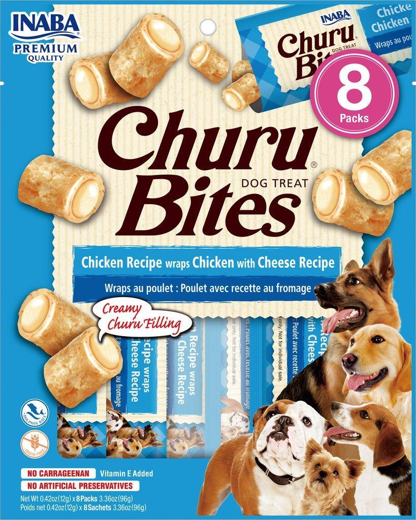 Inaba Churu Bites Chicken Wrapped Chicken with Cheese Grain-Free Dog Treats, 8-pk