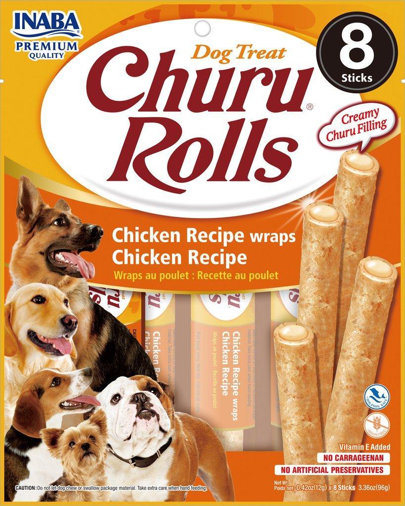 Inaba Churu Rolls Chicken Wrapped Chicken Grain-Free Dog Treats, 8-pk