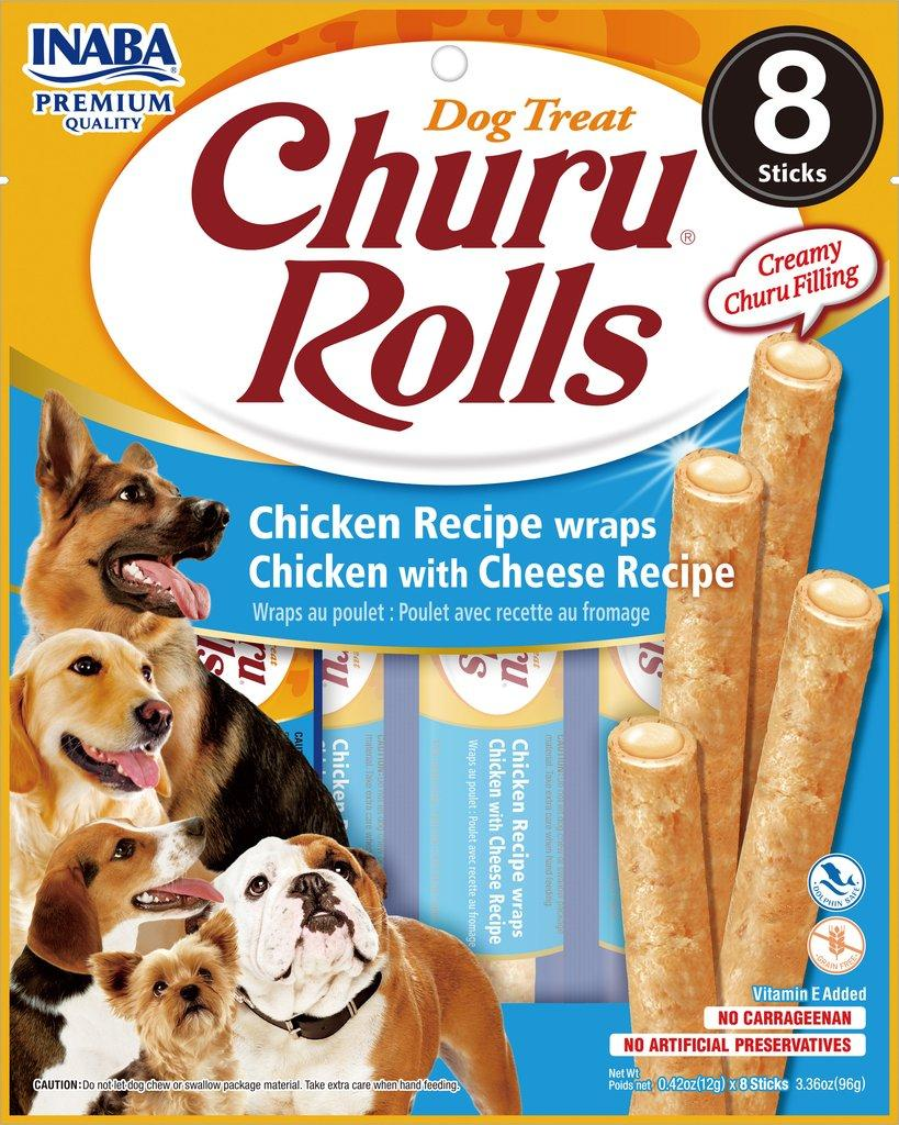 Inaba Churu Rolls Chicken Wrapped Chicken with Cheese Grain-Free Dog Treats, 8-pk