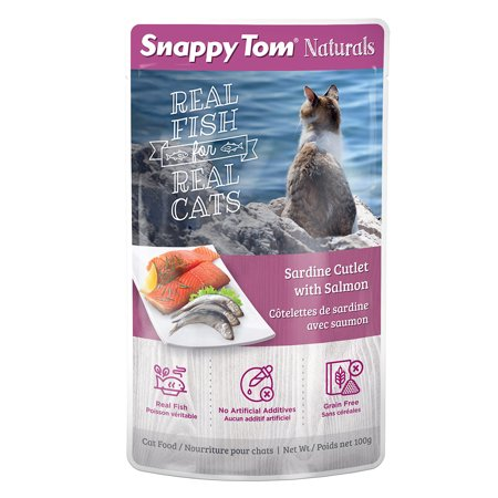 Snappy Tom Sardine & Salmon Pouch, 100-g