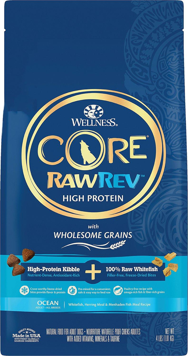 Wellness CORE RawRev Wholesome Grains Ocean Recipe with Freeze-Dried Whitefish Dry Dog Food, 4-lb