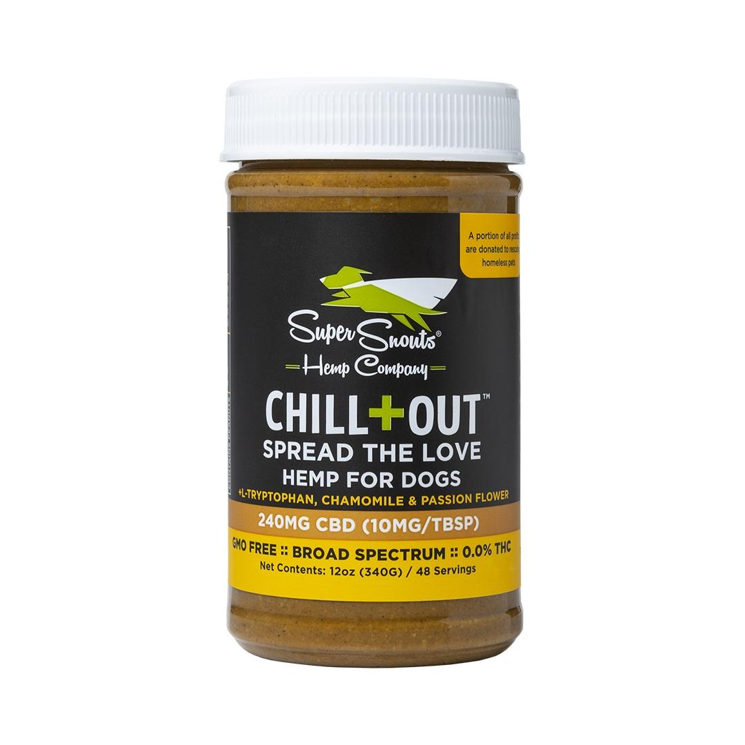 Super Snouts CHILL+OUT BS Peanut Butter   C B D   for Dogs, 240mg, 12-oz