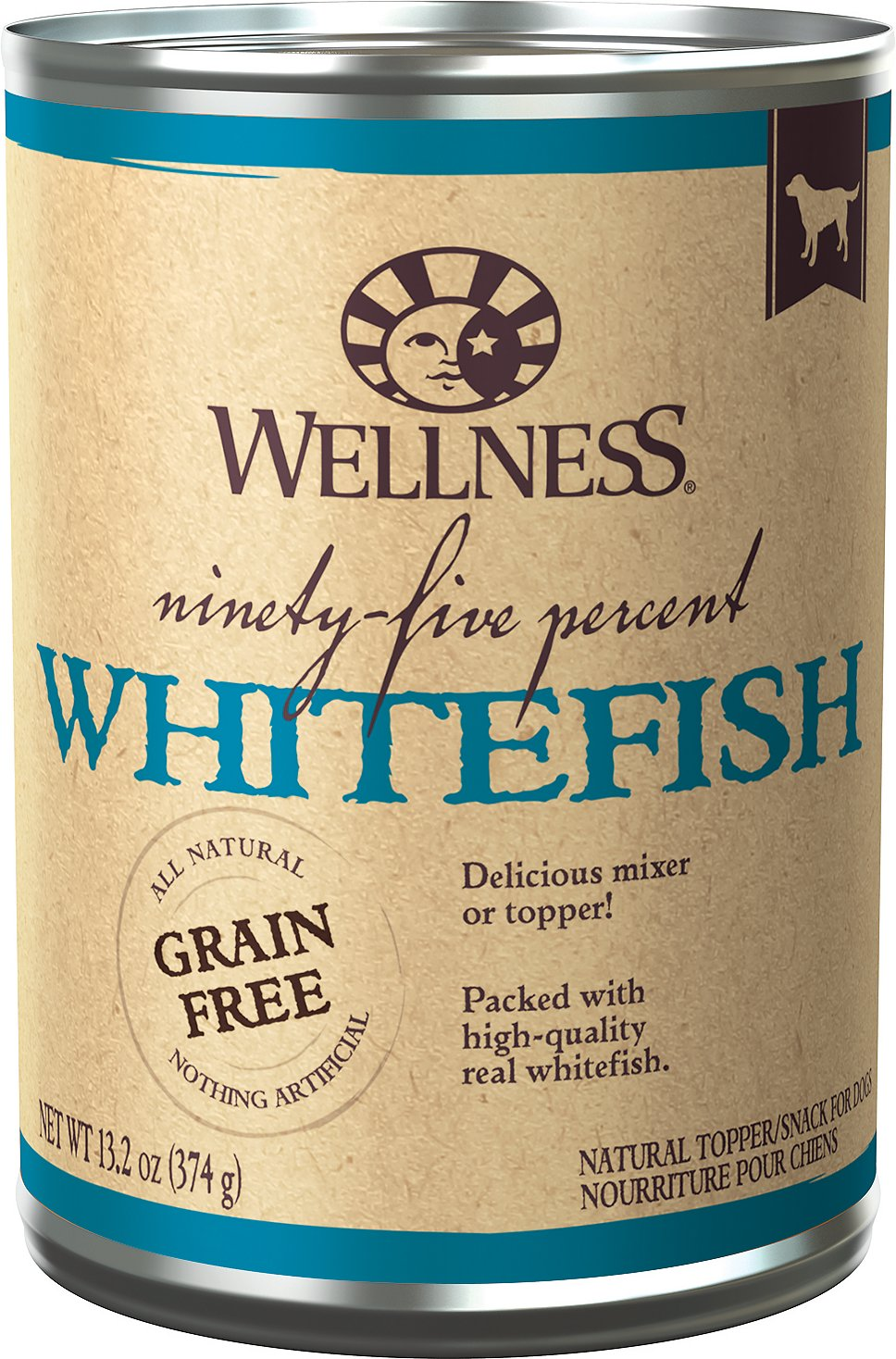 Wellness 95% Whitefish Natural Grain Free Wet Dog Food, 13.2-oz