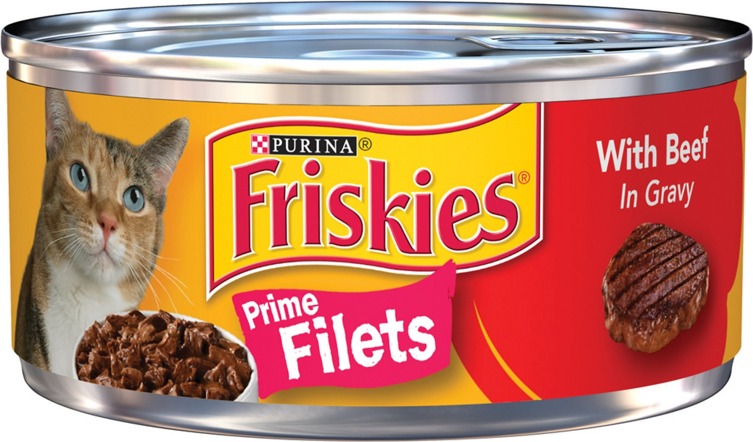 Friskies Prime Filets with Beef in Gravy Canned Cat Food,  5.5-oz