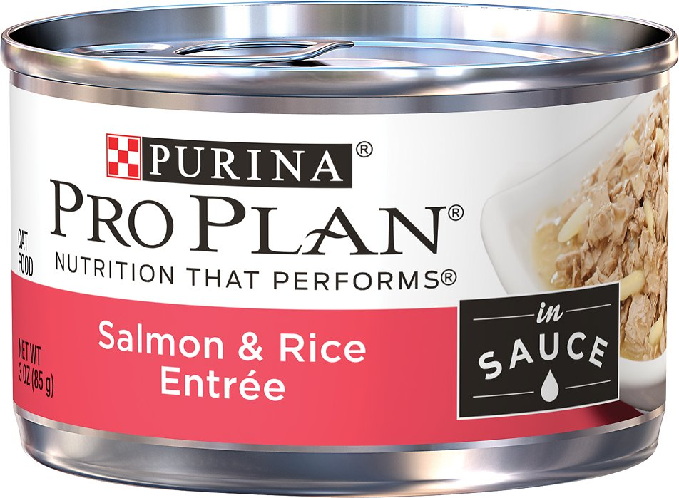 Purina Pro Plan Savor Adult Salmon & Rice Entree in Sauce Canned Cat Food, 3-oz