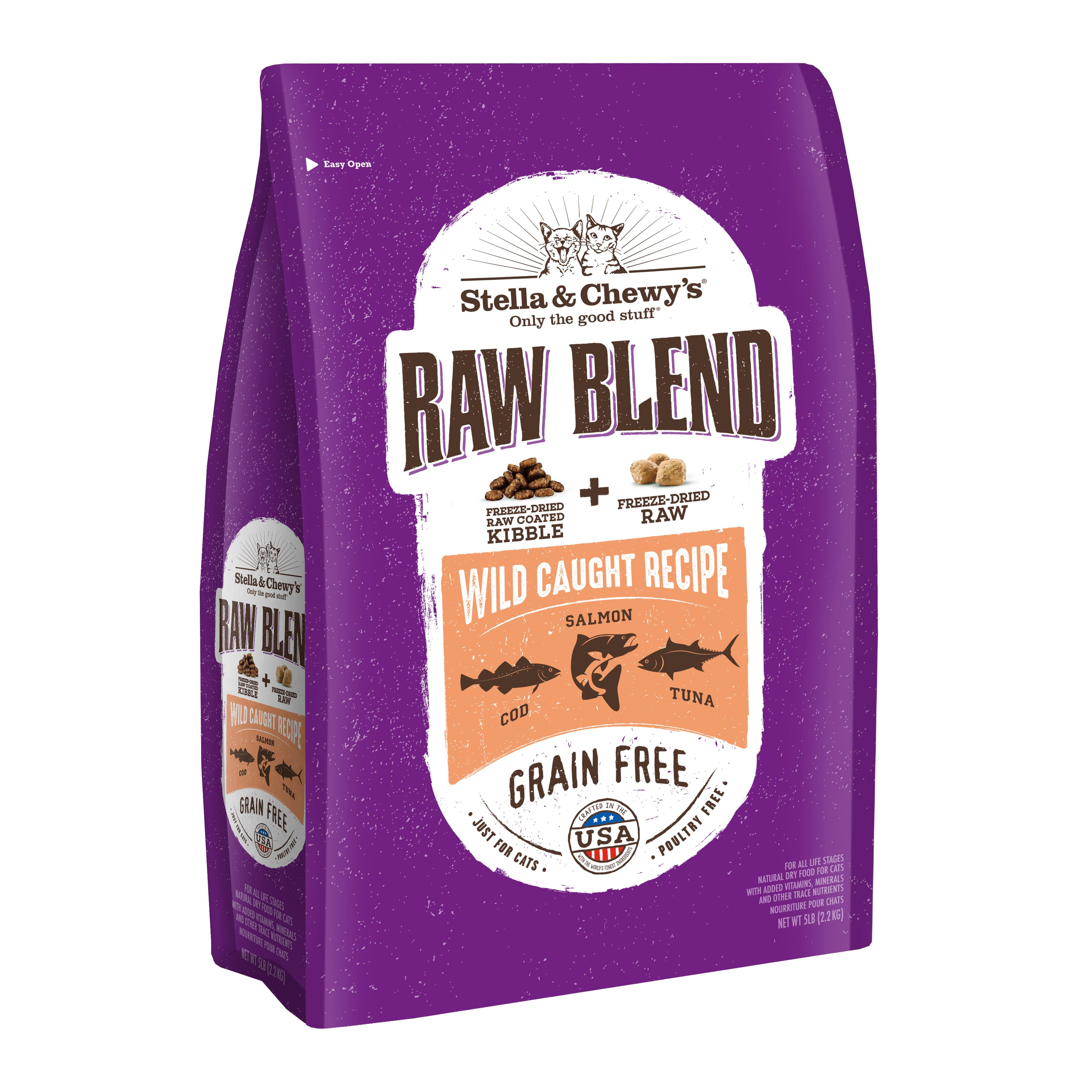 Stella & Chewy's Raw Blend Wild Caught Salmon Dry Cat Food, 5-lb